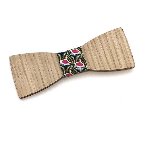 Noeud pap bois et tissu style africain gris et rose