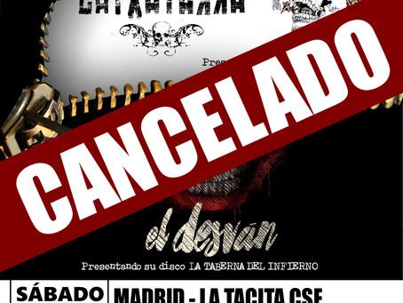 Cancelado el concierto de Latxatarra y El Desván en Madrid.