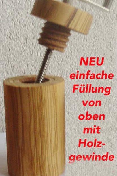 Muskatmühle Olivenholz mit Holzgewinde
