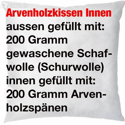 Arvenholz-Kissen 50x50 cm mit Schafwolle und Arvenholzspänen