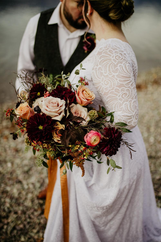 autumn wedding bouquet, Whitefish florist