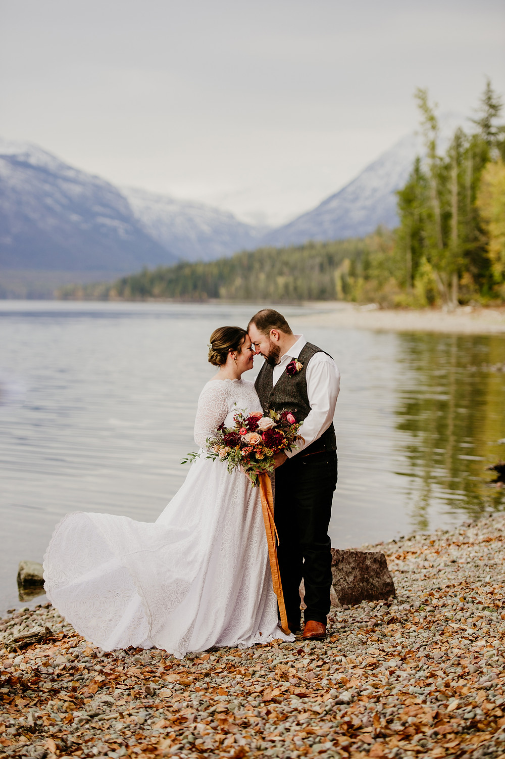 fall elopement in Glacier National Park