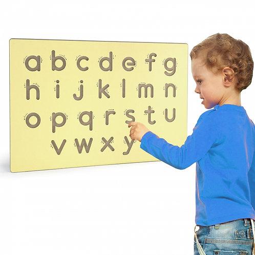 Medinė rašymo lenta-šablonas mažos raidės