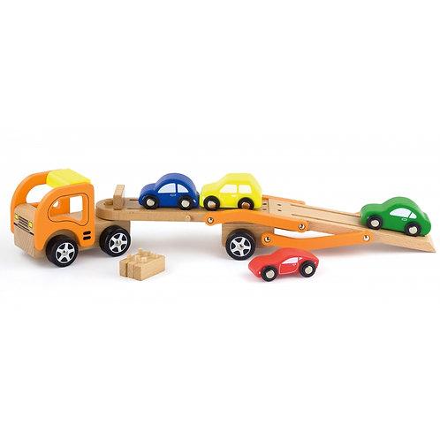 Medinis vilkikas su automobiliais Viga