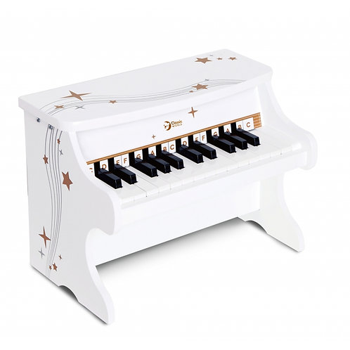 Baltas medinis pianinas