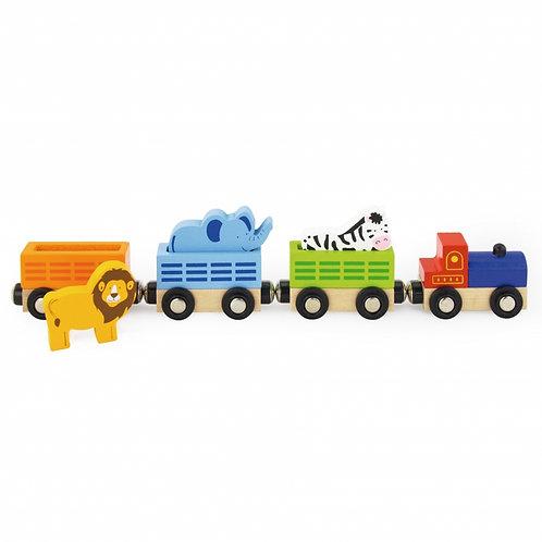 Medinis traukinys su laukiniais gyvūnais Viga