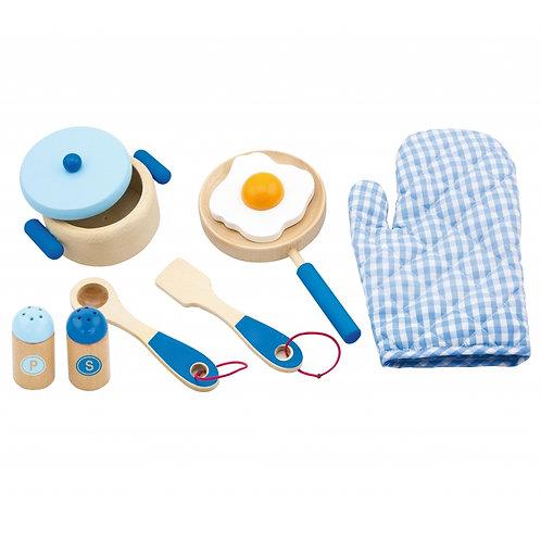 Žaislinis medinis virtuvės priedų rinkinys mėlinas