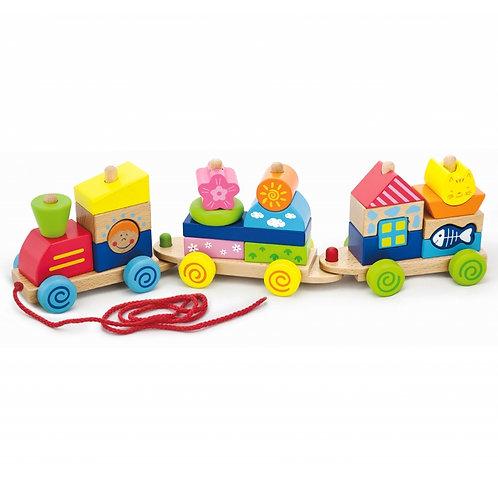 """Spalvingas traukiamas traukinys """"Viga Toys"""""""