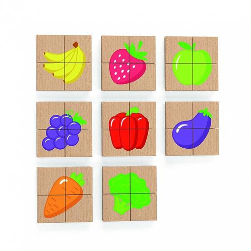 Medinė magnetinė delionė su vaisių ir daržovių  paveiksliukais, Viga