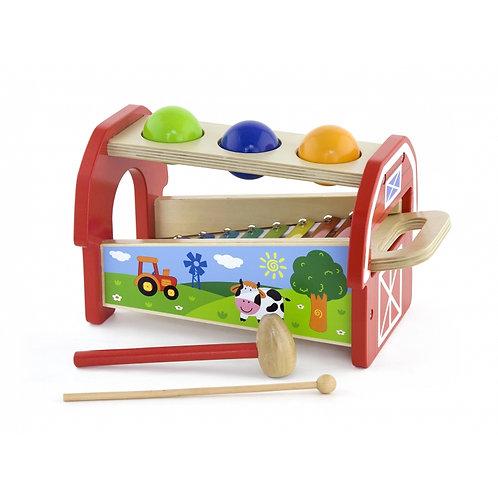 Medinis ksilofonas ir žaidimas su plaktuku