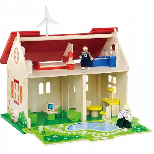 Didelis medinis lėlių namelis, 2 aukštai, baldai, terasa, 2 lėlės