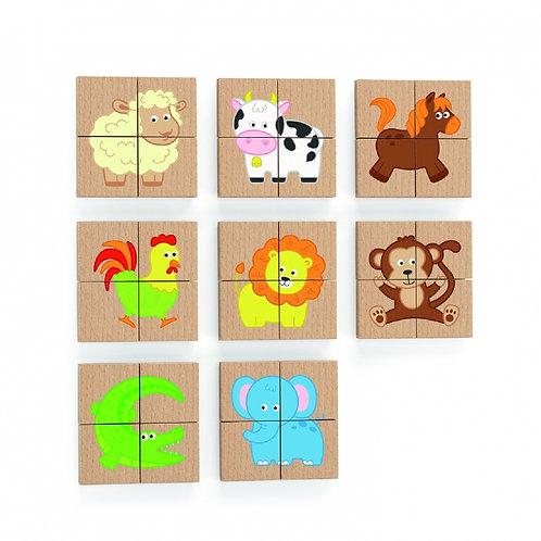 Medinė magnetinė delionė su gyvūnų paveiksliukais, Viga