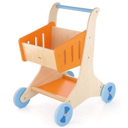 Medinis žaislinis pirkinių vežimėlis