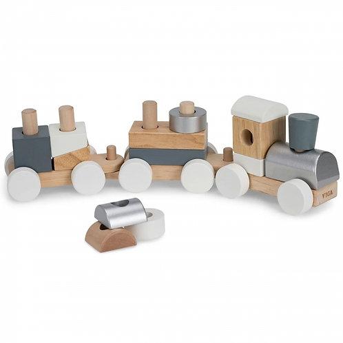 Traukiamas medinis žaislinis traukinukas