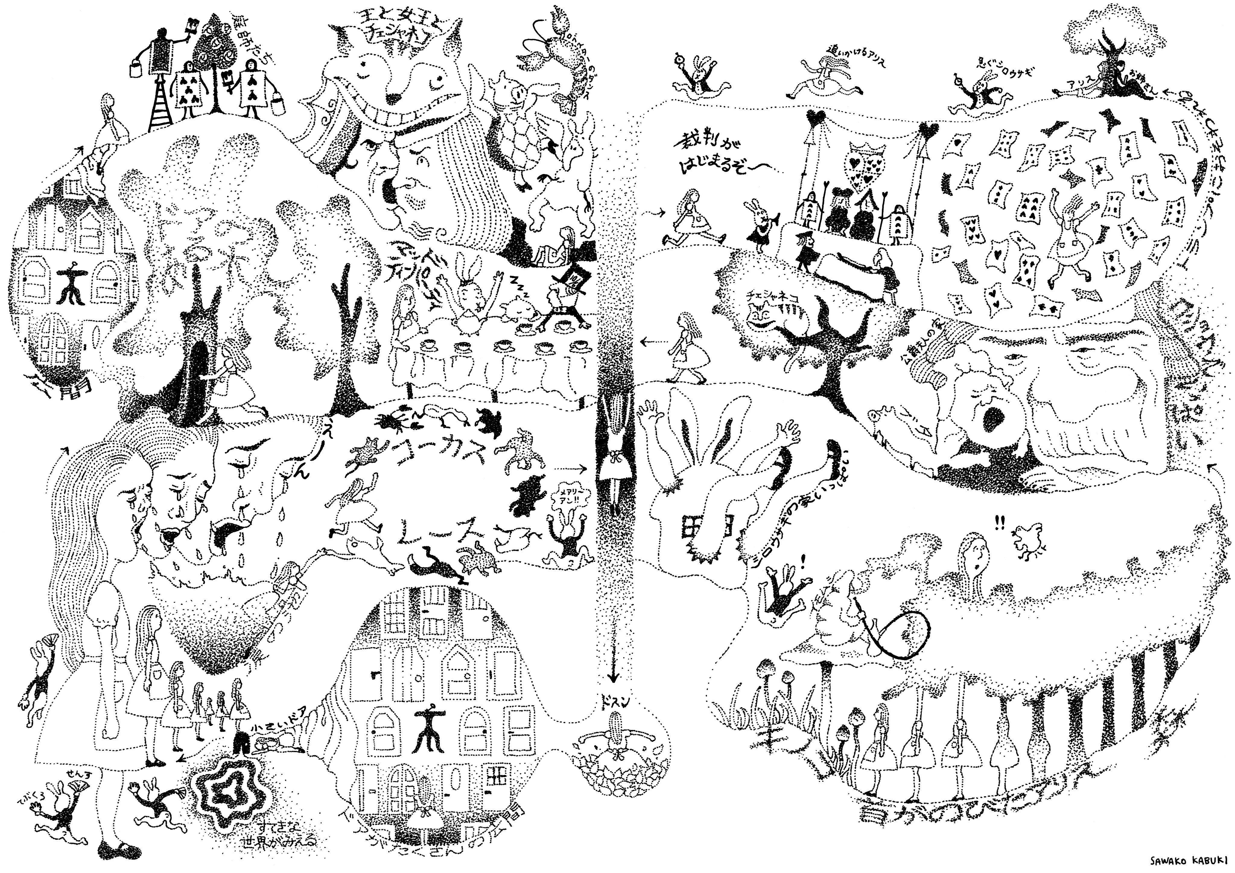 不思議の国のアリスマップ 『不思議の国のアリス 完全読本』挿絵