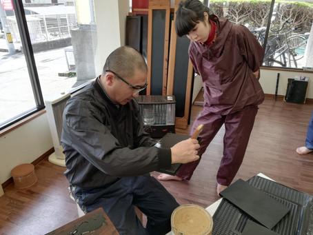 広島市立大学芸術学部漆塗り実習指導 3月21日