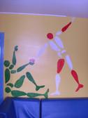 Peinture murale aux pochoirs. Réalisé à l'Ime de Vincelles.