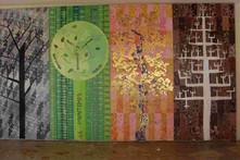 Fresque les 4 saisons. Peintures sur plaques de bois. Taille 200x400cm. Préau de l'école de St-Fargeau.