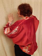 veste velours avec incrustation toile cirée