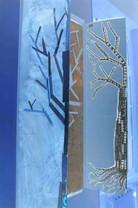 Collage de carton, cagettes, th, arbre. Taille 120x60cm. Réalisé à l'école Ime des Isles.
