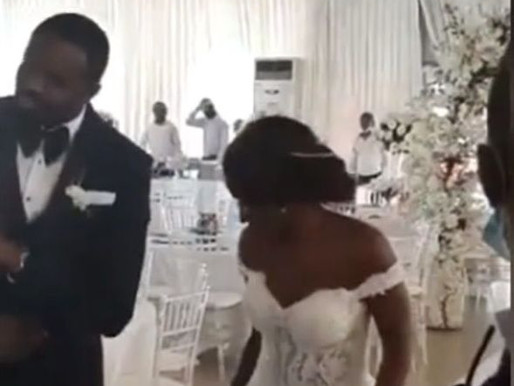 CORONAVIRUS: COUPLE DANCE INTO THEIR WEDDING RECEPTION WITH NO GUEST (VIDEO)