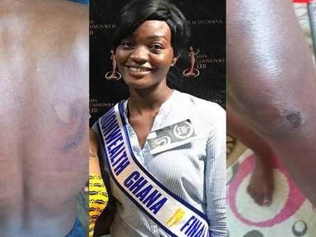 PHOTOS+AUDIO: MISS COMMONWEALTH RUNNER-UP TORTURED IN A SHRINE OVER MISSING GH₵500