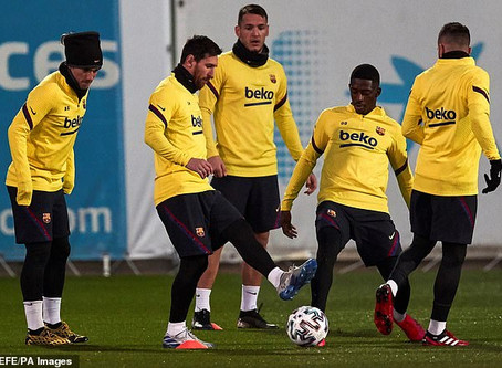BARCELONA'S PLAYERS TO BE TESTED FOR SIGNS OF CORONAVIRUS WHEN THEY PLAY NAPOLI