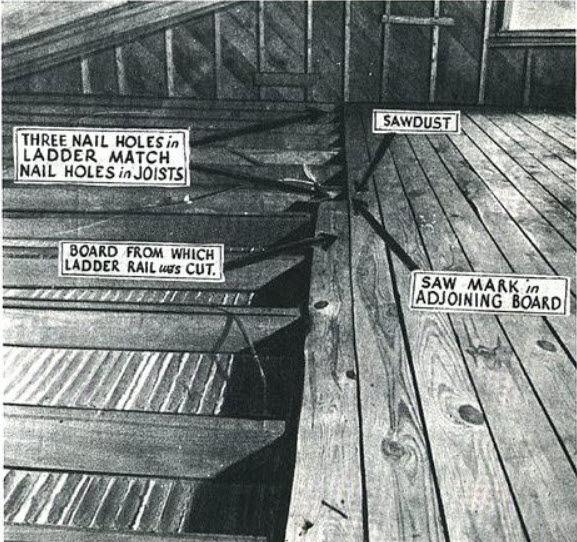 Hauptmann's attic, Lindbergh Kidnapping, Hauptmann Trial Transcript, Lindbergh Kidnapping Evidence, Lindbergh Kidnapping Photos, Lindbergh Trial, Hauptmann Trial, Famous Trials, Charles Lindbergh Flight, Charles Lindbergh Biography