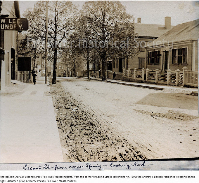 Lizzie Borden, Second Street from the corner of Spring Street, looking north. Borden home is second from the right.