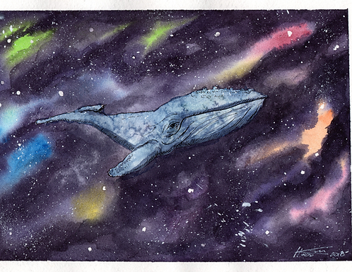 Swimming in Space Greeting Card