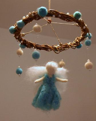 Needle felted fairy mobile,  Blue  fairy