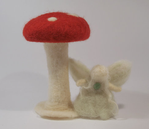 Felted mushroom and a fairy