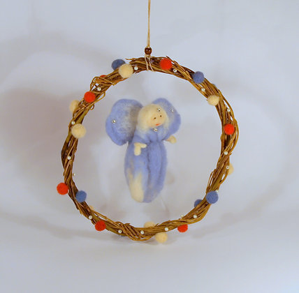 Needle felted Blue fairy mobile