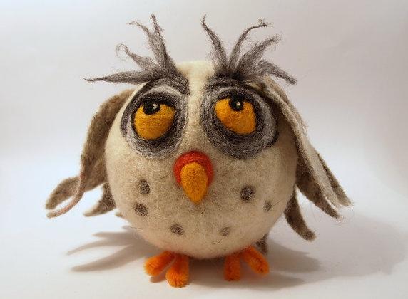 Epicurus needle felted snovy owl