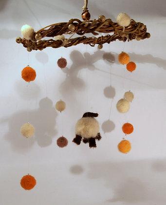 Needle felted sheep mobile