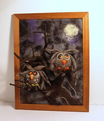 Framed 2 needle felted owls