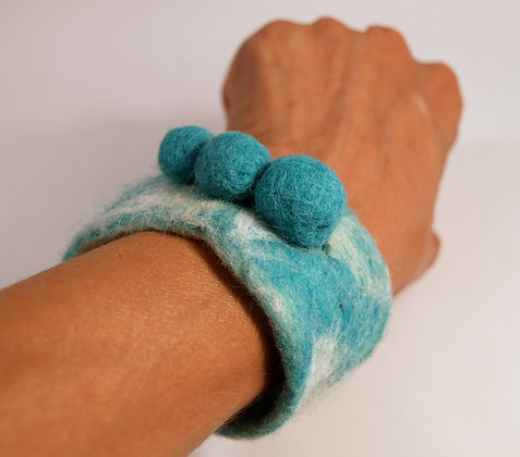 Turquoise felted bangle, cuff, bracelet