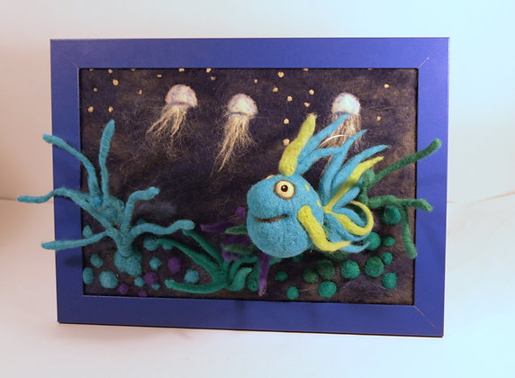 Framed needle felted blue fish with jellyfish