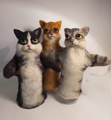 Ginger, Tabby and Felix, cats glove puppets,