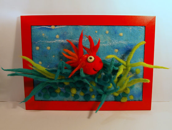 Framed needle felted red fish