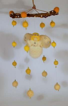 Needle felted angel mobile