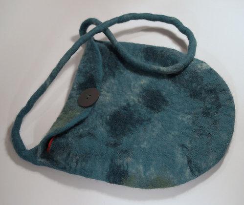 Blue felted handbag