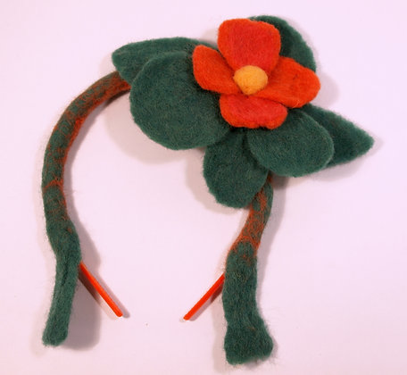 Felted red flower headband