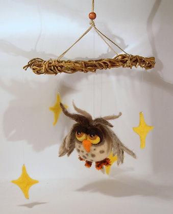 Ćukolo needle felted snowy owl mobile