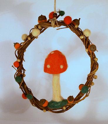 Needle felted mushroom mobile