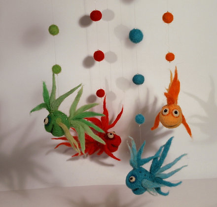 Olivia needle felted fish mobile,