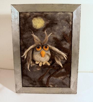 Framed needle felted owl