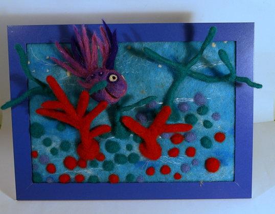 Framed needle felted purple fish