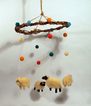 Four Needle felted sheep mobile