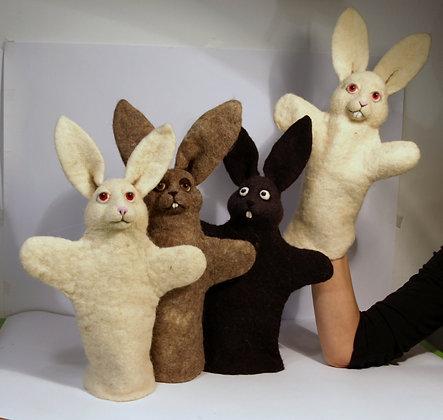 Bunnies, original hand made puppets